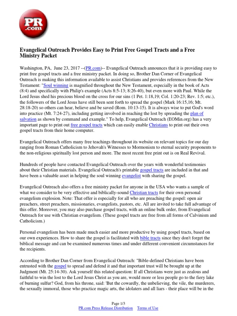 photo relating to Free Printable Gospel Tracts named Evangelical Outreach Gives Straightforward towards Print No cost Gospel