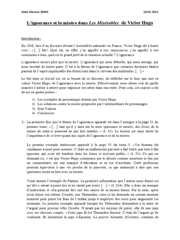 L'Ignorance Et La Misère Dans Les Misérables de Victor ...