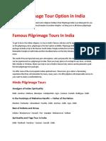 Best Pilgrimage Tour Option in India