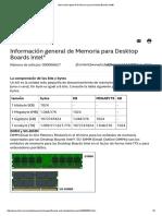 Información general de Memoria para Desktop Boards Intel®