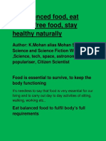 Eat balanced food, eat poison free food, stay healthy naturally- poster