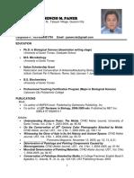 Curriculum Vitae of Crisencio Paner