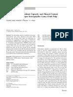 Evaluación de La Capacidad Antioxidante y Contenido de Fenoles