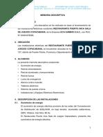 MEMORIA DESCRIPTIVA RESTAURANT PUERTO INCA SALA DE JUEGOS.docx