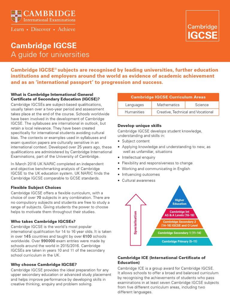Cambridge Igcse Guide for Universities | Curriculum | Educational