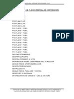 Relacion de Planos Sistema de Distribucion