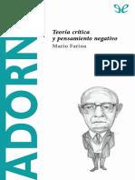 Farina Mario - Descubrir La Filosofia 47 - Adorno - Teoria Critica Y Pensamiento Negativo.epub