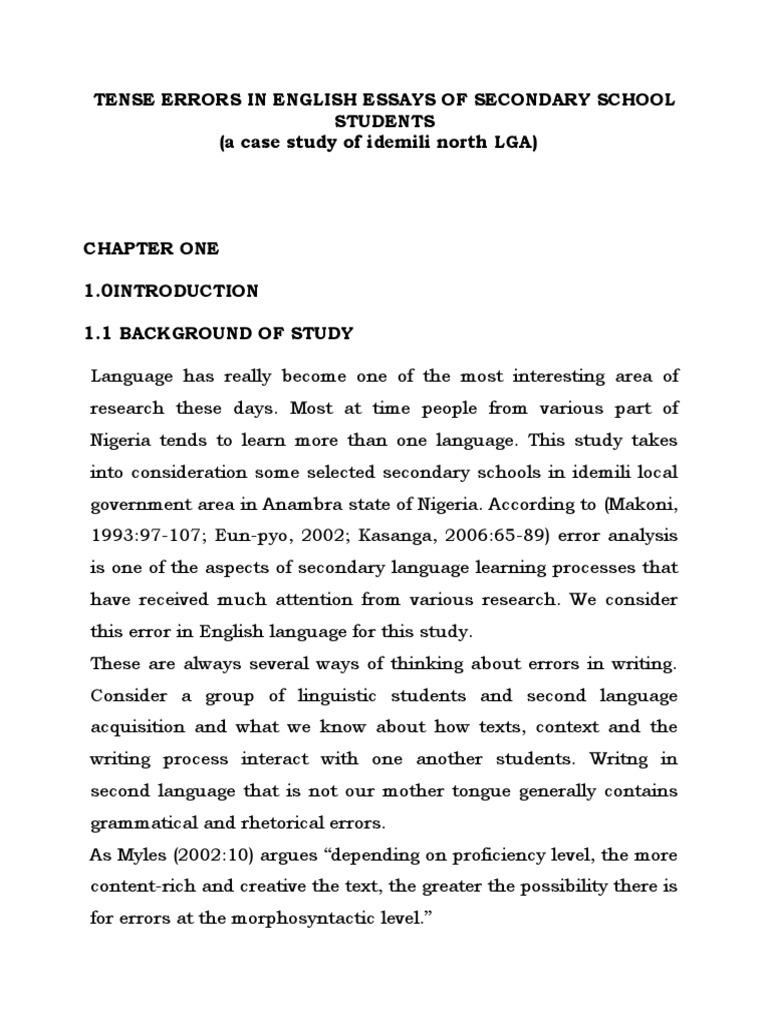 tense errors in english essays of secondary school student  tense errors in english essays of secondary school student1 2 second language second language acquisition