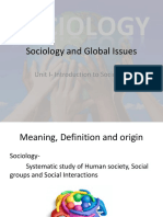 Unit I Introduction to Sociology