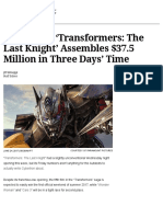 Box Office_ 'Transformers 5′ Assembles $37