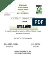 Certificate Ojt