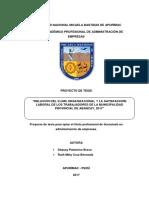 Tesis de Clima Organizacional y Satisfaccion Laboral