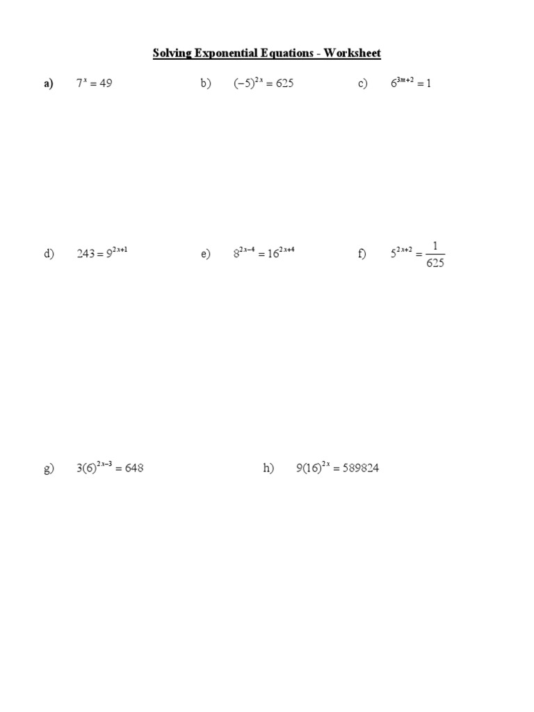 Worksheets Exponential Equations Worksheet exponential equations worksheet