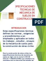 Especificaciones Tecnicas de Mecanica de Suelos