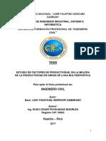 ESTUDIO DE FACTORES DE PRODUCTIVIDAD, EN LA MEJORA DE LA PRODUCTIVIDAD EN OBRAS DE LOSA MULTIDEPORTIVA.