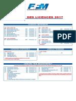 Licences 2017 Tarifs