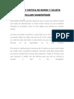 Resumen y Critica de Romeo y Julieta