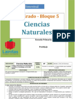 Plan 4to Grado - Bloque 5 Ciencias Naturales