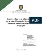 Ensayo - Cuál es la situación actual de la inserción escolar de los niños y niñas con trastornos asociados al lenguaje.docx