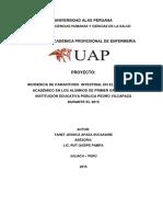 Arreglar Incidencia de Parasitosis Intestinal en El Rendimiento