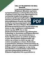 Ang Kultura at Tradisyon Ng