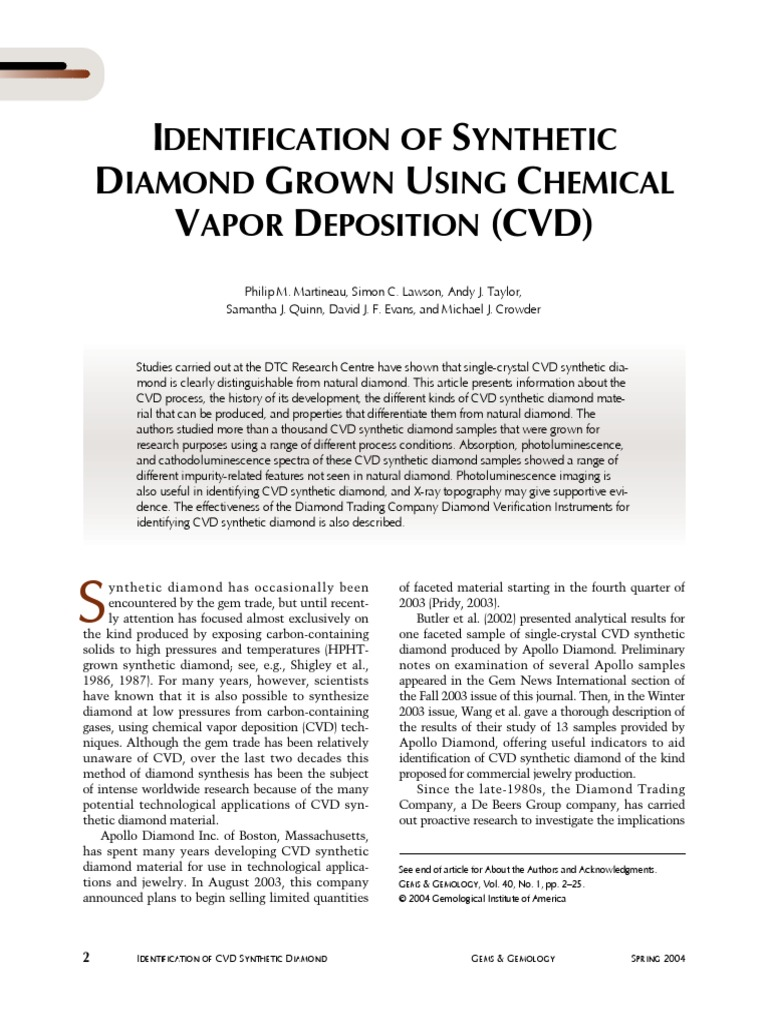 Identification Of Synthetic Diamond Grown Using Chemical Vapor Deposition Cvd