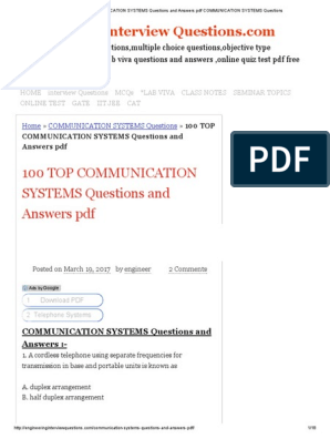 100 Top Communication Systems Questions and Answers PDF