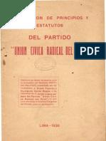 """Declaración de principios y estatutos del Partido """"Unión Cívica Radical del Perú"""" (1936)"""