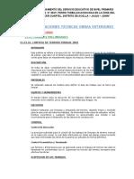 Especificaciones Técnicas Obras Exteriores