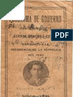 Programa de gobierno del comandante Luis M. Sánchez Cerro, candidato a la presidencia de la República del Perú (1931)