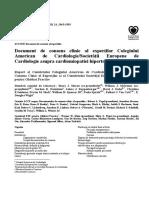 Document de Consens Clinic Al Expertilor Colegiului American de Cardiologie Societatii Europene de Cardiologie Asupra Cardiomiopatiei Hipertrofice