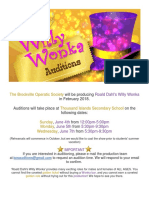 Wonka Audition Announcement