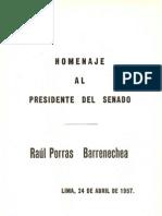 Homenaje al Presidente del Senado. Raúl Porras Barrenechea