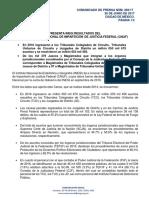 PRESENTA INEGI RESULTADOS DEL QUINTO CENSO NACIONAL DE IMPARTICIÓN DE JUSTICIA FEDERAL (CNIJF)