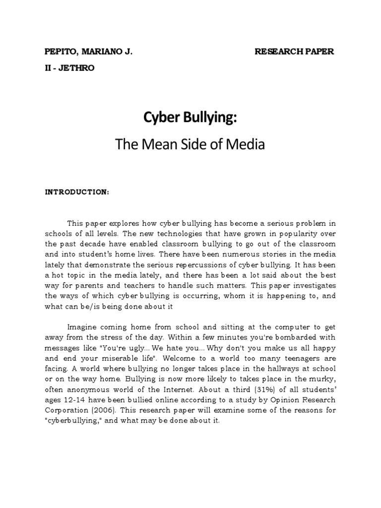 cyberbullying 2 essay Read social media & cyber bullying from the story social media & cyber bullying - a persuasive essay by semwriter by semwriter (s liz) with 5,790 reads addic.