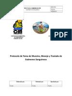 Protocolo de Toma de Muestra, Manejo y Traslado de Exámenes Sanguíneos
