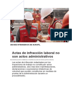 Actas de Infracción Laboral No Son Actos Administrativos