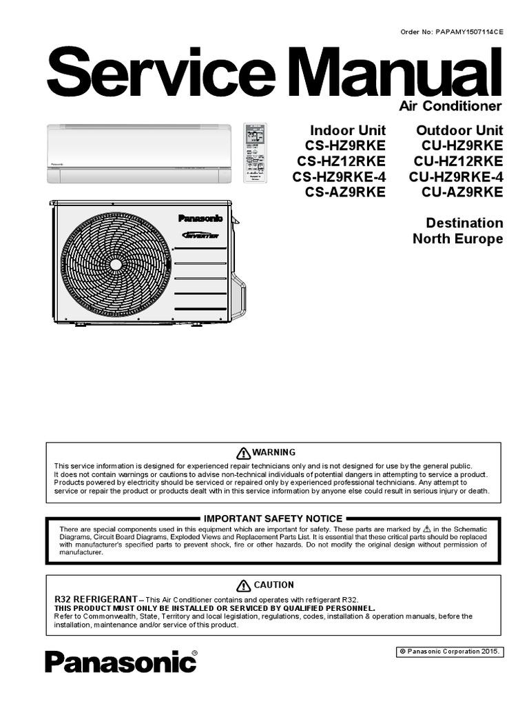 panasonic cs hz9rke hz12rke sevice manual eng leak air conditioning rh scribd com Residential Solar Air Conditioning Air Conditioning Install Costs