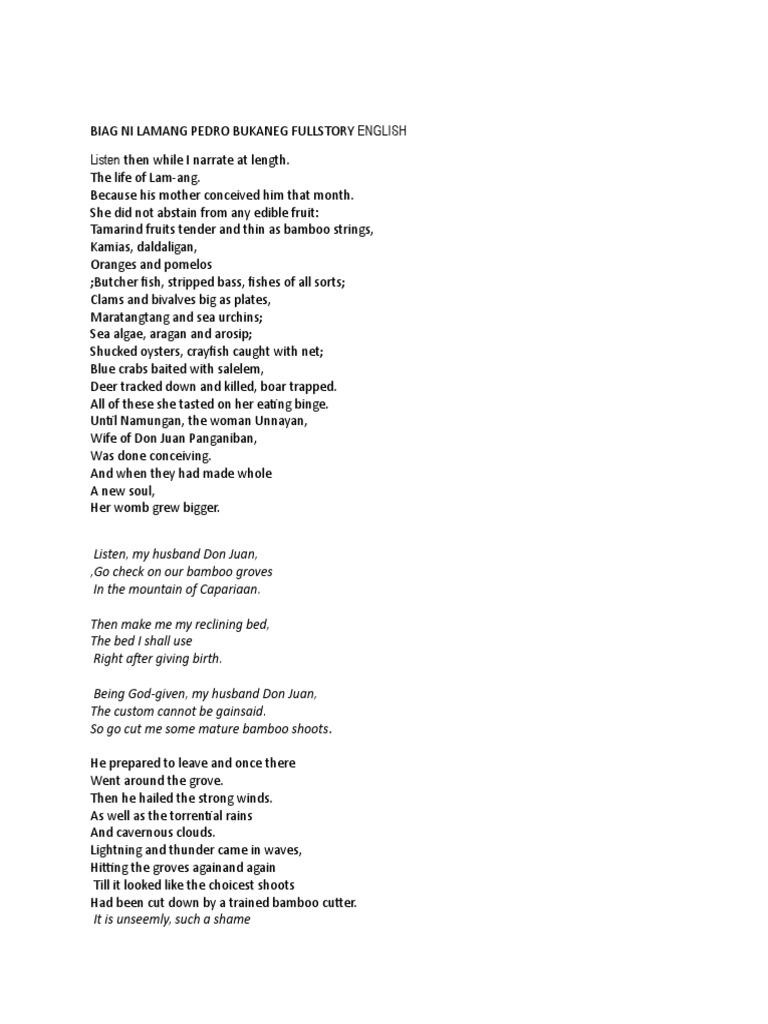 point view of story of biag lam ang View biag ni lamang pedro bukaneg full story english from ite 14-0224 at claremont mckenna college biag ni lamang pedro bukaneg full story from my great grandfathers both paternal and maternal but biag ni lam-ang script.