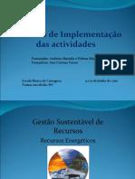 Relatório de Implementação das actividades