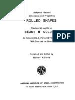 Historical Steel Beams 1873 to 1952