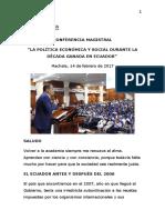 2017.02.14 Conferencia Magistral La Política Económica y Social Durante La Década Ganada en Ecuador en La Universidad Técnica de Machala