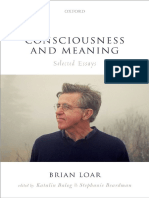 Consciousness and Meaning Selected Essays