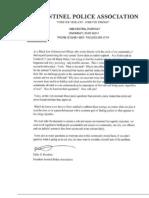 Sentinel Police Association letter