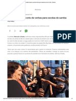 Crivella confirma corte de verbas para escolas de samba no Rio