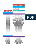 Lista 2 Precio Toyota Junio