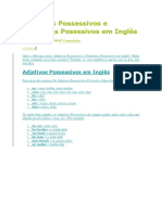 Adjetivos Possessivos e Pronomes Possesivos Em Inglês