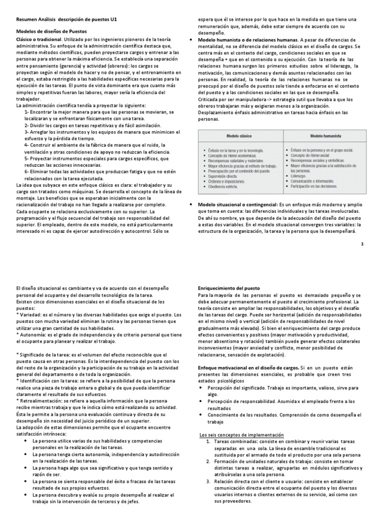 Resumen Analisis Descripción de Puestos