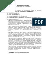 Resumen Del Programa Del Diplomado de Recreación