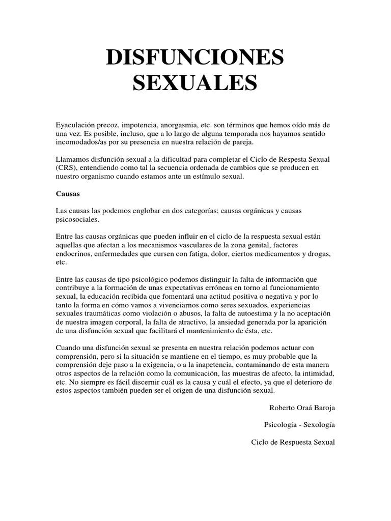 ¿Cuáles son algunas causas psicosociales de disfunción sexual?